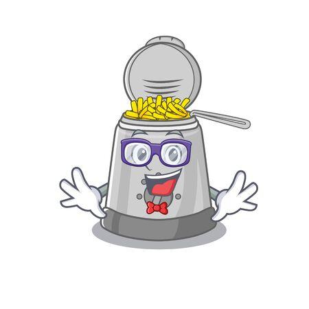 A cartoon concept of Geek deep fryer design. Vector illustration