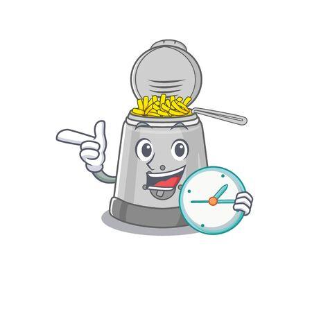 cartoon character concept deep fryer having clock. Vector illustration