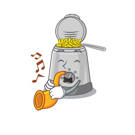 mascot design concept of deep fryer playing a trumpet. Vector illustration