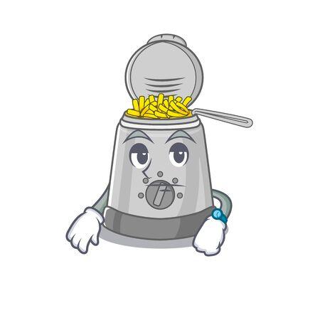 cartoon character design of deep fryer on a waiting gesture. Vector illustration Banco de Imagens - 139947631