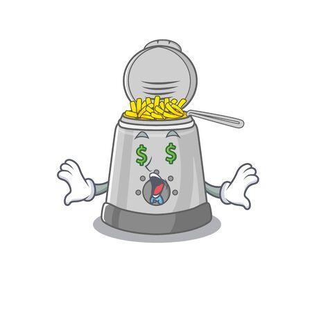 Happy rich deep fryer cartoon character with Money eye. Vector illustration
