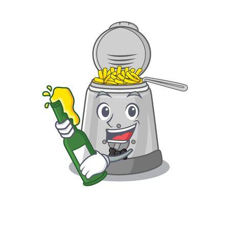 mascot cartoon design of deep fryer with bottle of beer. Vector illustration Illustration