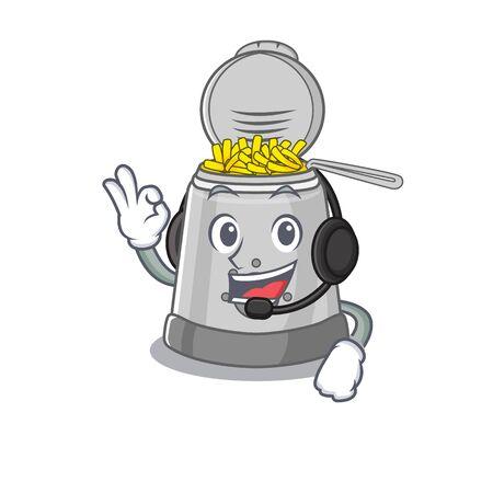 Happy deep fryer mascot design style wearing headphone. Vector illustration Illustration