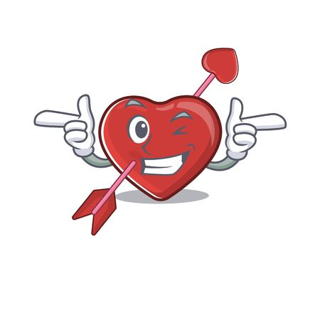 Cute mascot cartoon design of heart and arrow with Wink eye. Vector illustration