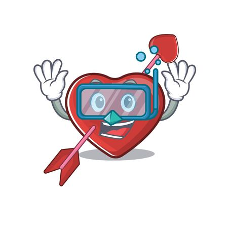cartoon character of heart and arrow wearing Diving glasses. Vector illustration