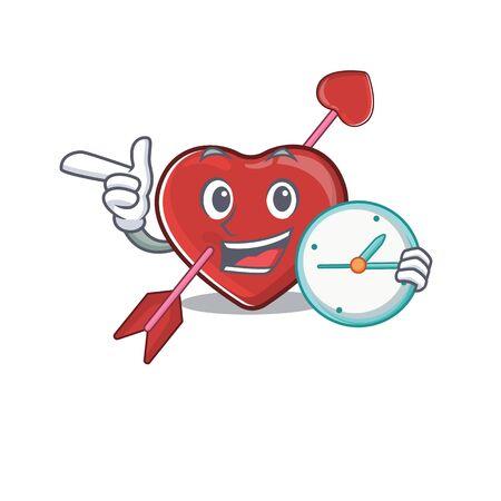 cartoon character concept heart and arrow having clock. Vector illustration