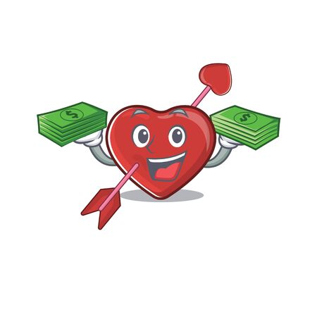 cool rich heart and arrow character having money on hands. Vector illustration