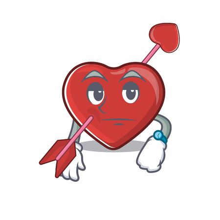 cartoon character design of heart and arrow on a waiting gesture. Vector illustration Reklamní fotografie - 139947876