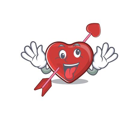 Cute sneaky heart and arrow Cartoon character with a crazy face. Vector illustration