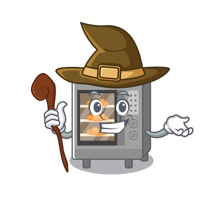 a mascot concept of oven cake performed as a witch. Vector illustration