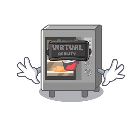 A Picture of oven cake character wearing Virtual reality headset. Vector illustration