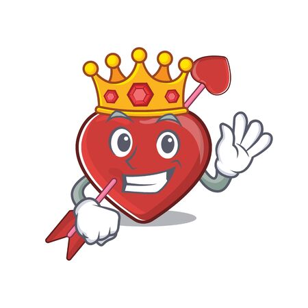 A cartoon mascot design of heart and arrow performed as a King on the stage. Vector illustration 向量圖像