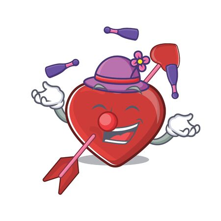 a lively heart and arrow cartoon character design playing Juggling. Vector illustration