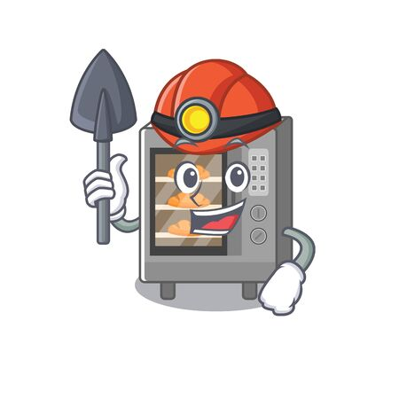 Cool clever Miner oven cake cartoon character design. Vector illustration