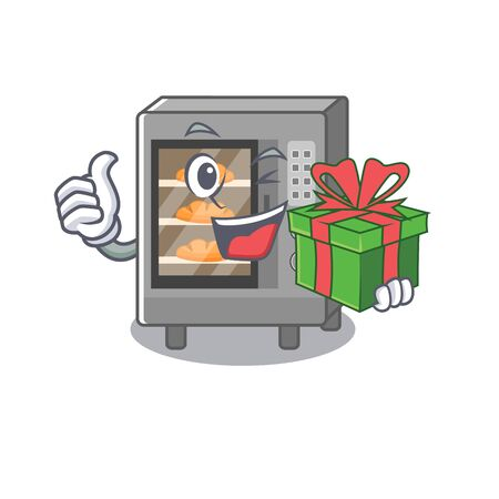 Happy oven cake character having a gift box. Vector illustration
