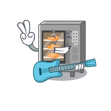 A picture of oven cake playing a guitar. Vector illustration Illustration
