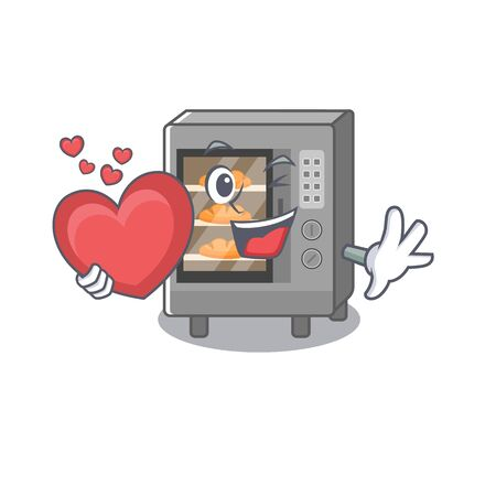 Romantic oven cake cartoon picture holding a heart. Vector illustration
