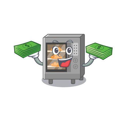 cool rich oven cake character having money on hands. Vector illustration Vector Illustratie