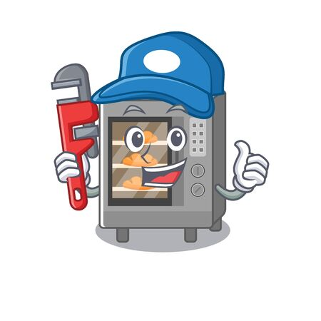 A cute picture of oven cake working as a Plumber. Vector illustration Illustration