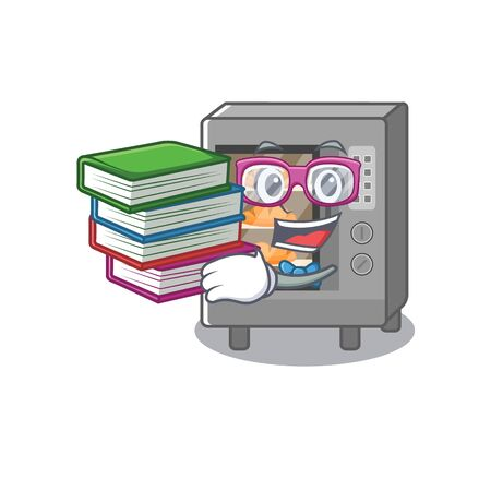 mascot cartoon of oven cake studying with book. Vector illustration