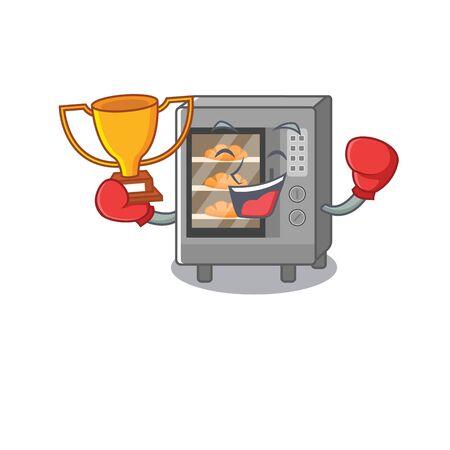 fantastic Boxing winner of oven cake in mascot cartoon design. Vector illustration Illustration