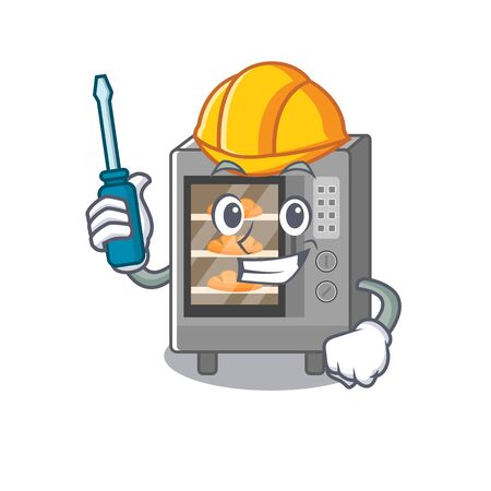 cartoon character style oven cake working as an automotive. Vector illustration