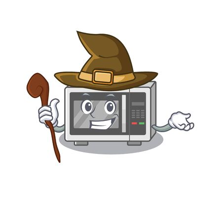 a mascot concept of microwave performed as a witch