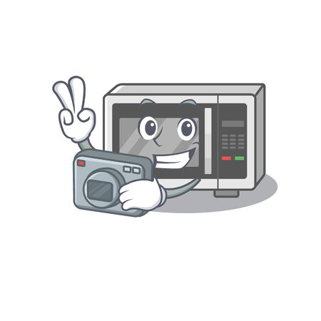 Cool Photographer microwave character with a camera