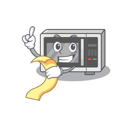 A funny cartoon character of microwave holding a menu