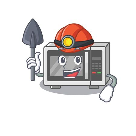 Cool clever Miner microwave cartoon character design