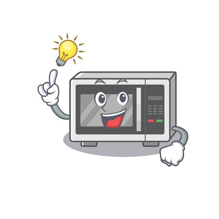 a clever microwave cartoon character style have an idea gesture