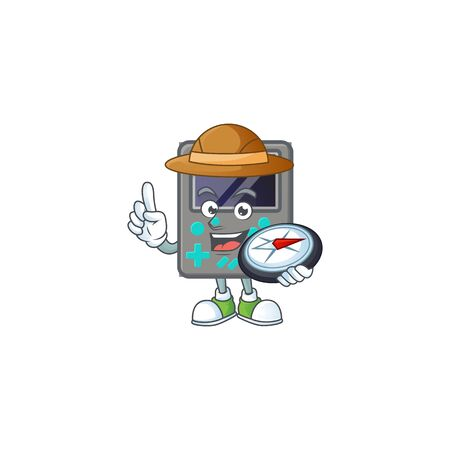 A game console explorer cartoon design having a compass. Vector illustration Illustration
