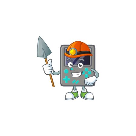 Cool clever Miner game console cartoon character design. Vector illustration