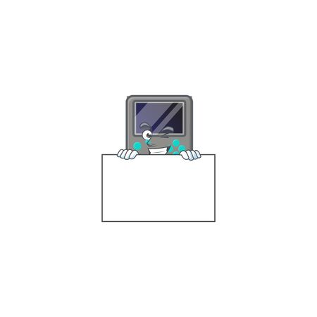 Game console cartoon character with funny face hides behind a board. Vector illustration