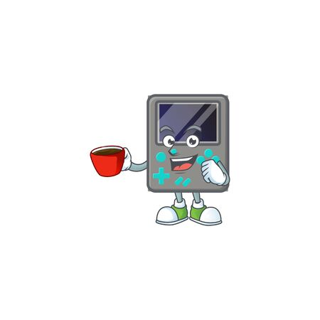 Cool game console cartoon character with a cup of coffee. Vector illustration