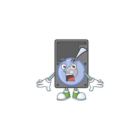 cartoon character design of hard disk with a surprised gesture. Vector illustration