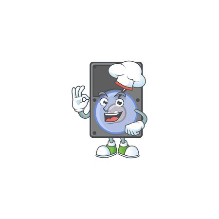 Hard disk cartoon character in a chef dress and white hat. Vector illustration Foto de archivo - 140112455