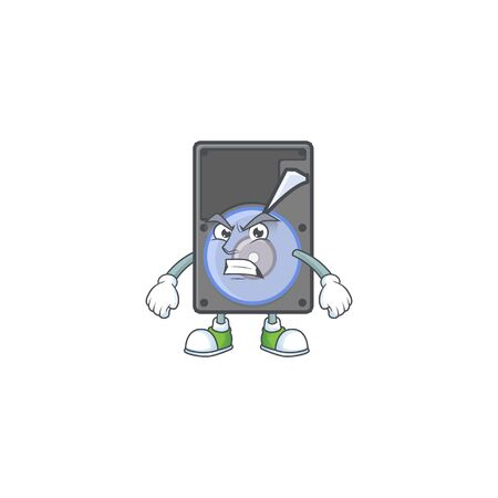 cartoon character of hard disk with angry face. Vector illustration