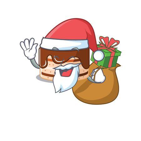 Santa chocolate cake Cartoon character design having box of gifts. Vector illustration