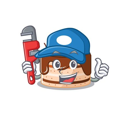 A cute picture of chocolate cake working as a Plumber. Vector illustration