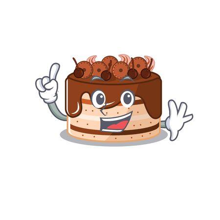 mascot cartoon concept chocolate cake in One Finger gesture. Vector illustration Illustration