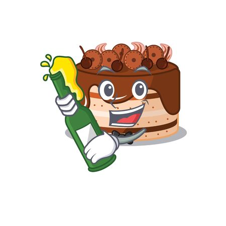 mascot cartoon design of chocolate cake with bottle of beer. Vector illustration Illustration