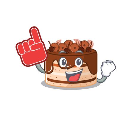 A picture of chocolate cake mascot cartoon design holding a Foam finger. Vector illustration Illustration