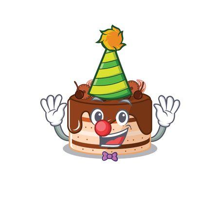 Funny Clown chocolate cake cartoon character mascot design. Vector illustration