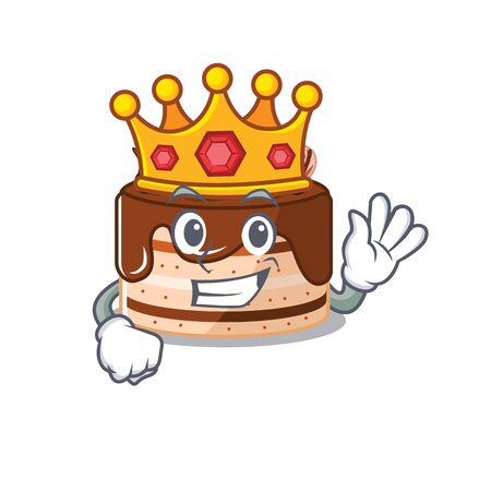A cartoon mascot design of chocolate cake performed as a King on the stage. Vector illustration