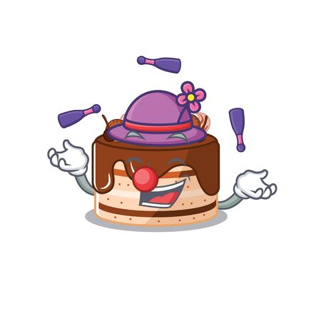 a lively chocolate cake cartoon character design playing Juggling. Vector illustration