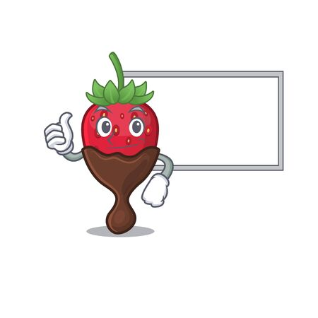 Thumbs up of chocolate strawberry cartoon design having a board. Vector illustration