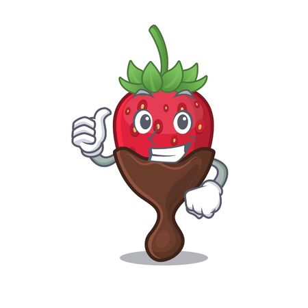 Funny chocolate strawberry making Thumbs up gesture. Vector illustration Vettoriali