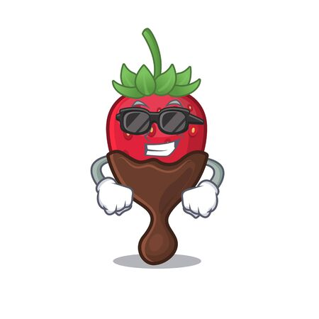 Super cool chocolate strawberry character wearing black glasses 向量圖像