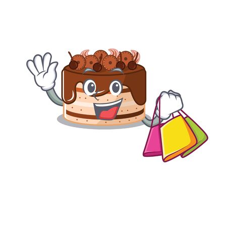 A friendly rich chocolate cake waving and holding Shopping bag Illustration